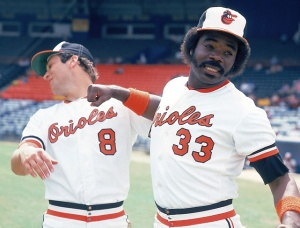 Eddie Murray (R) knocks out Cal Ripken (L)